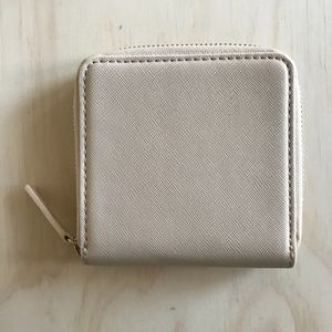 BARNEYS NEW YORK Square Zip Wallet- Faux Leather